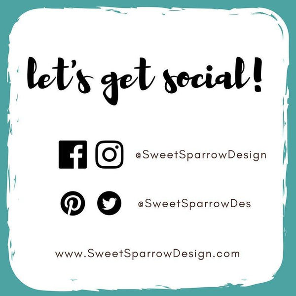 follow sweet sparrow design on social media