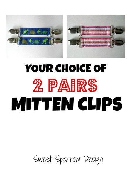 2 Pairs of MITTEN CLIPS for Children - Kids Mitten Clips - Glove Clips for Kids