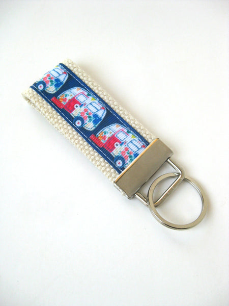 Retro Camper Key Fob- Happy Camper KEY FOB- Womens Keychain