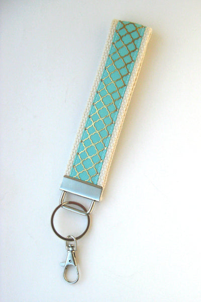 Mint Wristlet Key Fob- Key Chain- Gold Quatrefoil KEY FOB- Wrist Keychain for Her- Key Lanyard- Womens Gift for Her- Gift Under 10