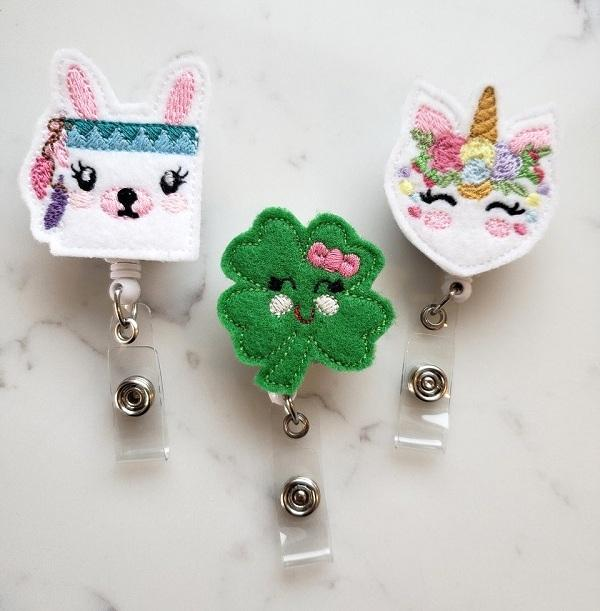 St Patricks Day Badge Holders - Cute Llama Badge Reels - Pretty Unicorn Retractable ID Badge Clips for Nurse
