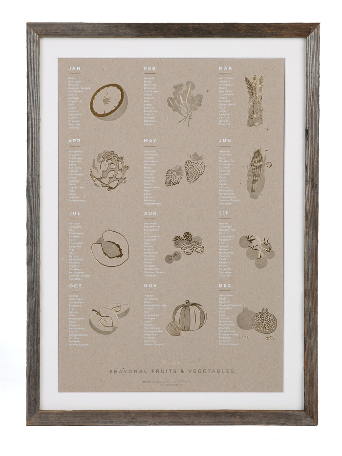 YAC | Framed Seasonal Fruits + Vegetables Chipboard