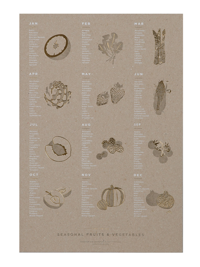 YAC | Seasonal Fruits + Vegetables Chipboard