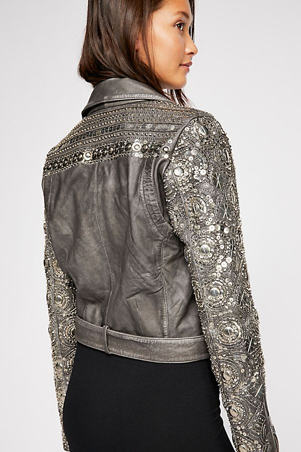 Free People | Circle Embellished Moto Jacket