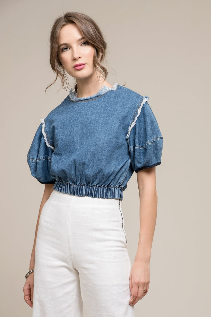 Moon River | Cinched Denim Cropped Top with Raw Detail
