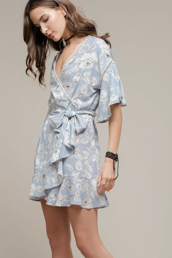 Moon River | Floral Printed Wrap Dress with Frill Hem