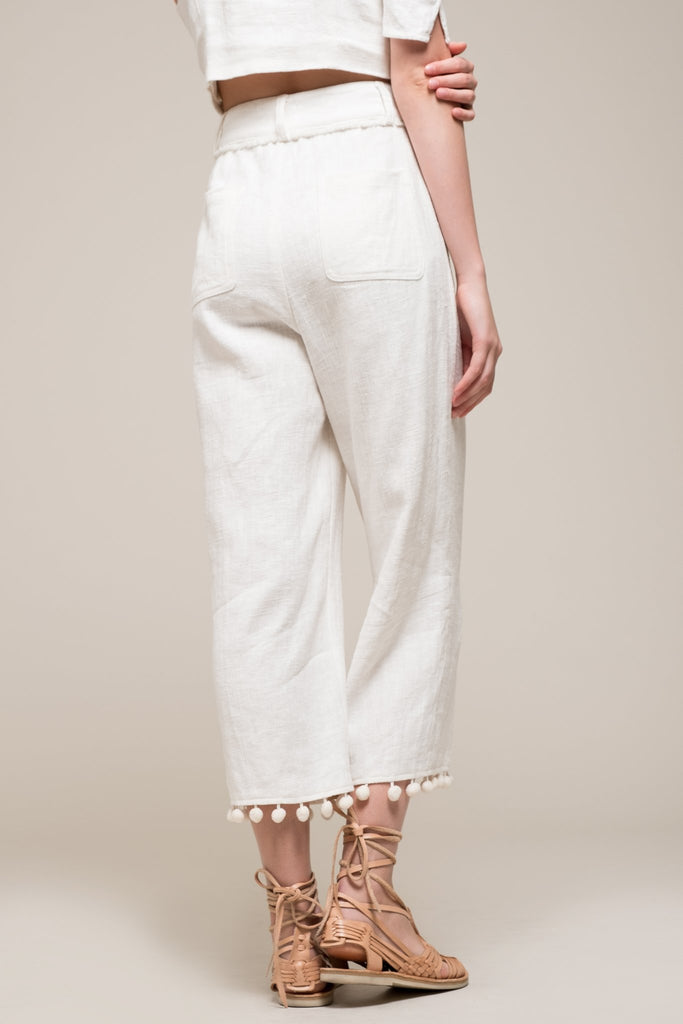 Moon River | Wide Leg Pants with Pom Trims