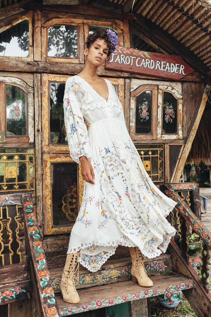 Fillyboo | Once Upon A Song Embroidered Maxi Dress Duster