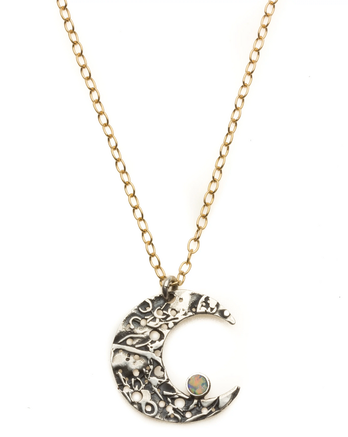 Jivita Jewelry | Crescent Moon with Opal Necklace