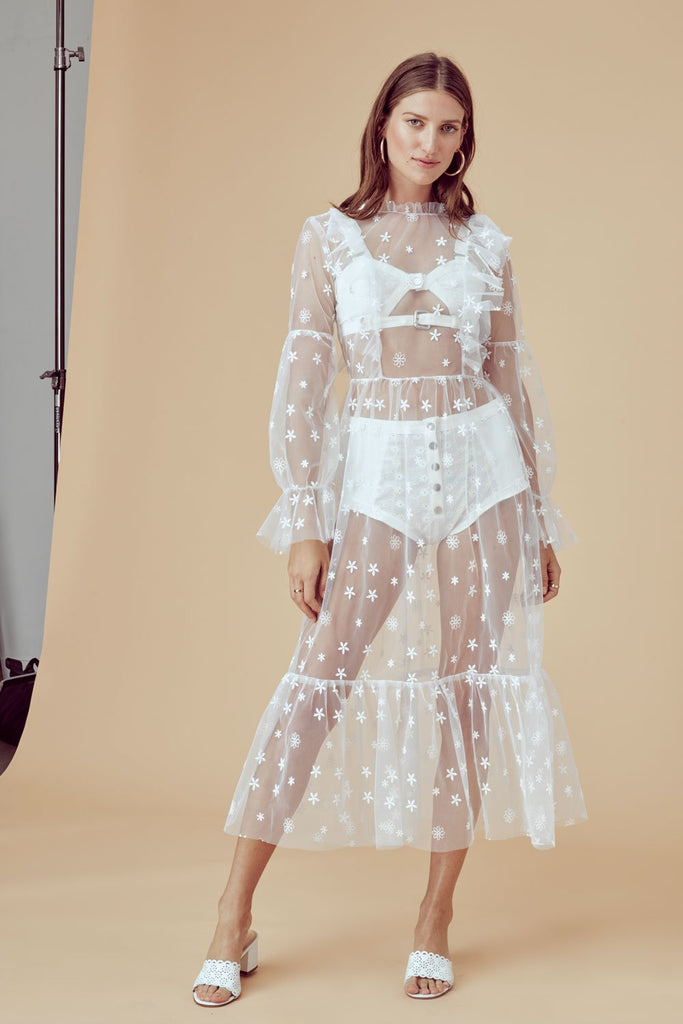 For Love & Lemons | Claudia Ruffle Midi Tulle Dress
