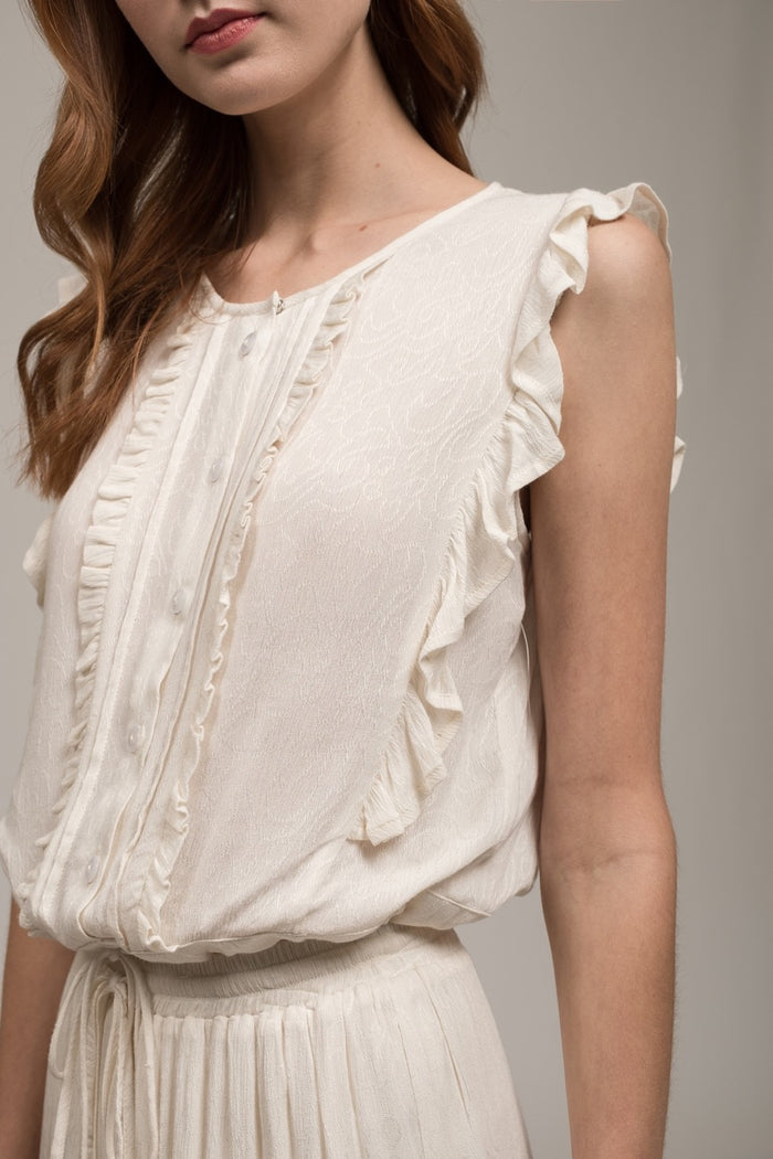 Moon River | Sleeveless Ruffle Tie Waist Top