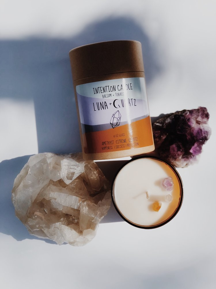 Luna + Quartz | Balsam + Tobacco Intention Candles