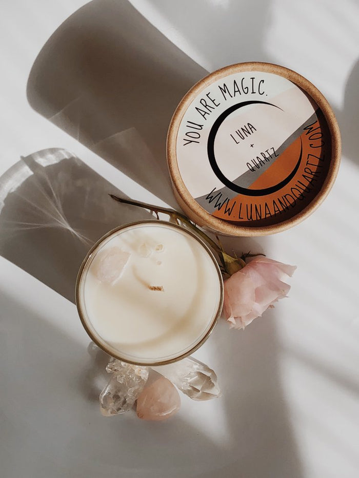 Luna + Quartz | Rose + Leather Intention Candles