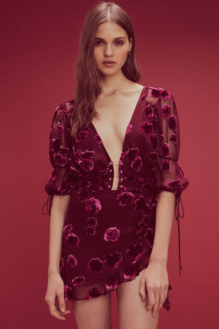 For Love & Lemons | Sophie Velvet Floral Mini Dress