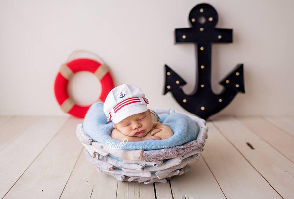 Lil' Sailor {newborn or sitter}, Shorts and hat - No. 2 Willow Lane