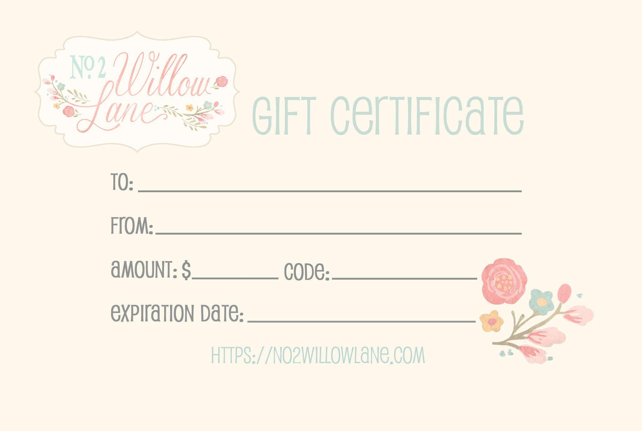Gift Certificate, Gift Certificate - No. 2 Willow Lane