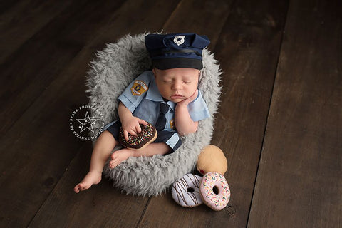 Police Baby {boy/girl/sitter}, Pants and hat - No. 2 Willow Lane