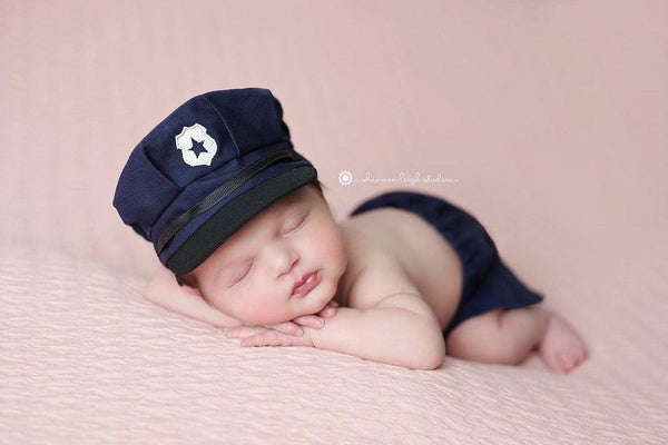 Lil' Officer {newborn or sitter}, Pants and hat - No. 2 Willow Lane