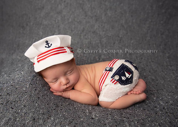 Lil' Sailor {newborn}, Shorts and hat - No. 2 Willow Lane