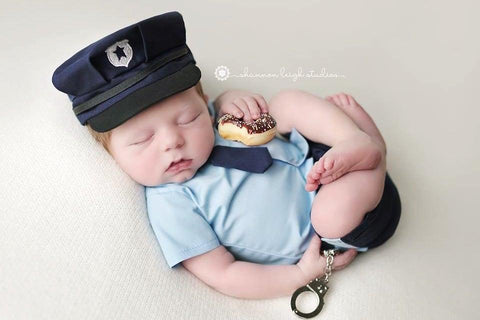 Lil' Officer {newborn or sitter} SALE, Pants and hat - No. 2 Willow Lane