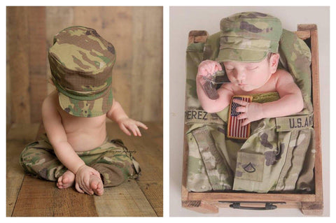 Lil' Trooper ~ Army {newborn/sitter}, Pants, hat, skirt and headband - No. 2 Willow Lane