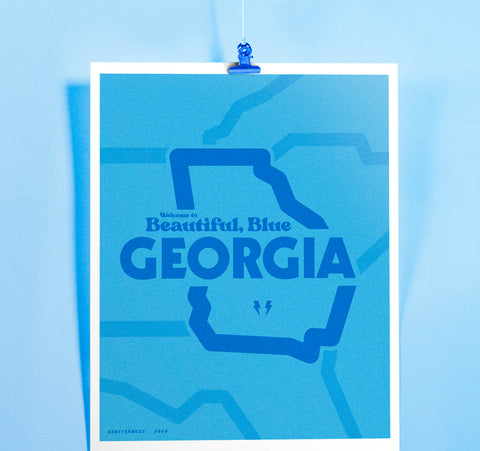 Welcome to Beautiful, Blue Georgia Print