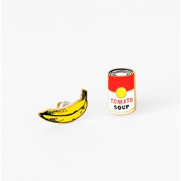 Pop Art Banana and Soup Can Earrings