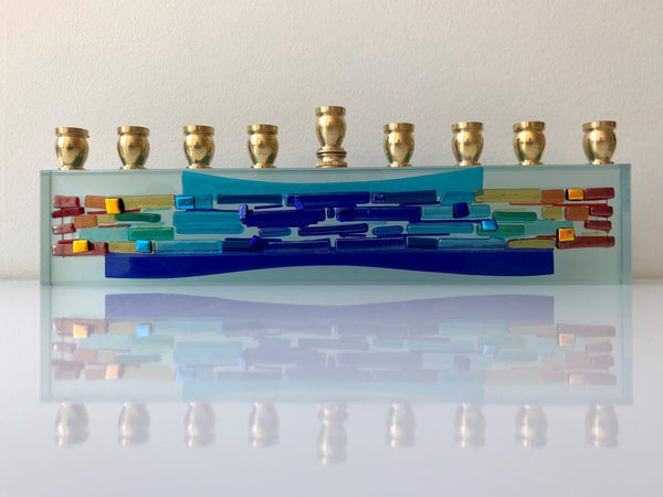 Menorah K4 Glassart, Fused glass,parting sea horizontal rainbow