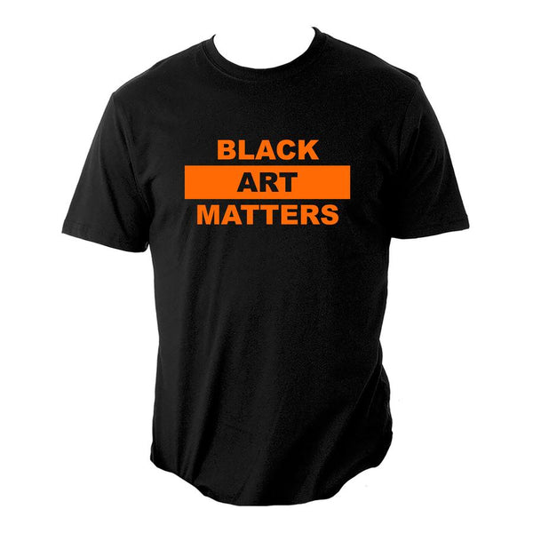 Black Art Matters T-Shirt orange and black by Willie Cole