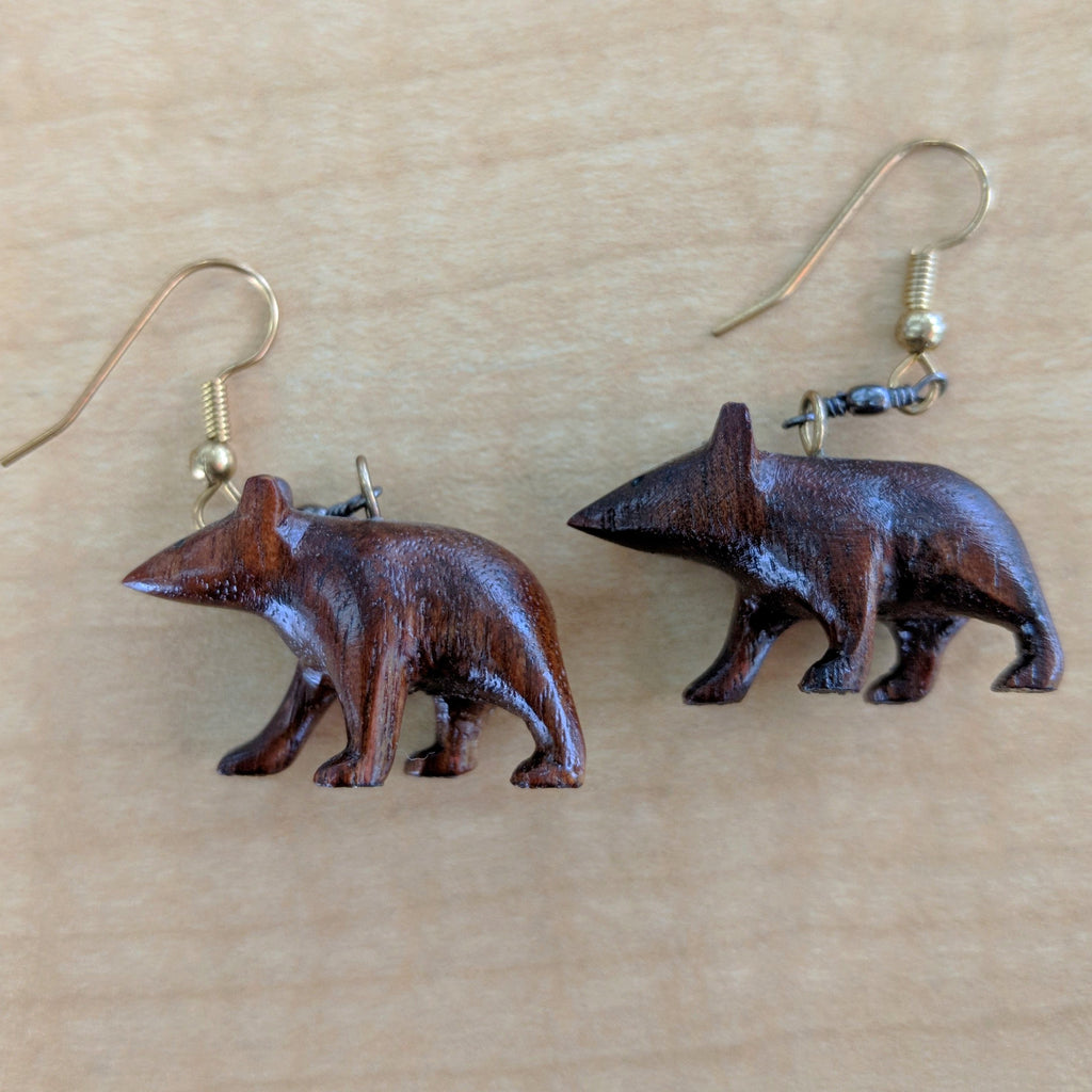 Bear Earrings Black Walnut Hand Carved