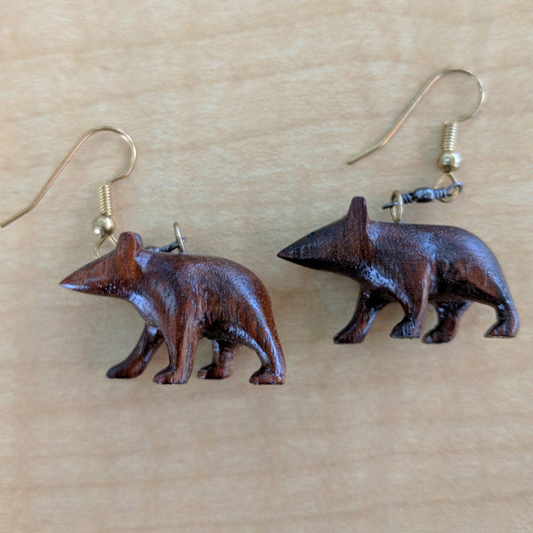 Black Walnut Bear Earrings