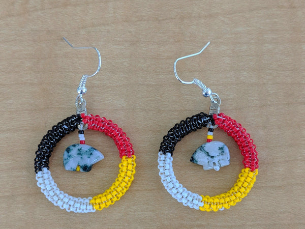Cherokee Stone Carved Bear Four Directions Beaded Earrings