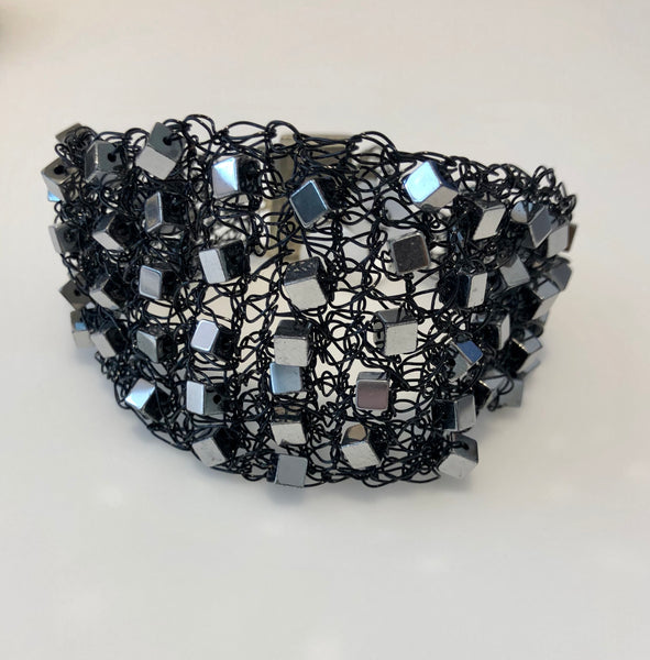 Viola Spells-Silver on Black Cuff