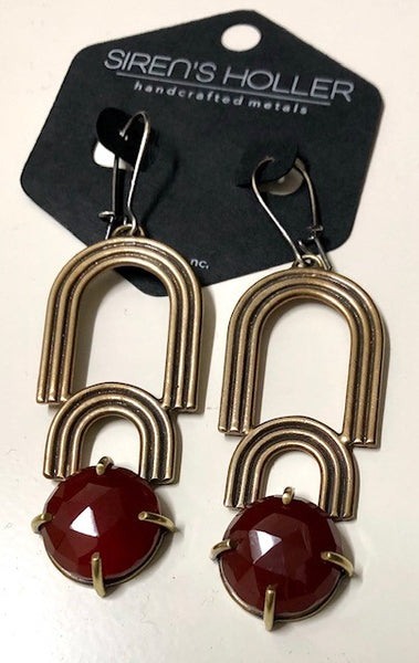 Siren's Holler- Carnelian Chandelier Earrings