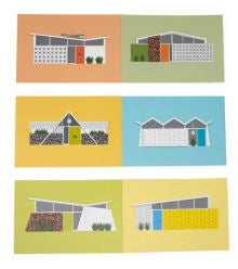 Multicolor Mid Century Houses Postcards
