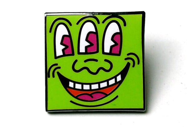Keith Haring Green Face Pin