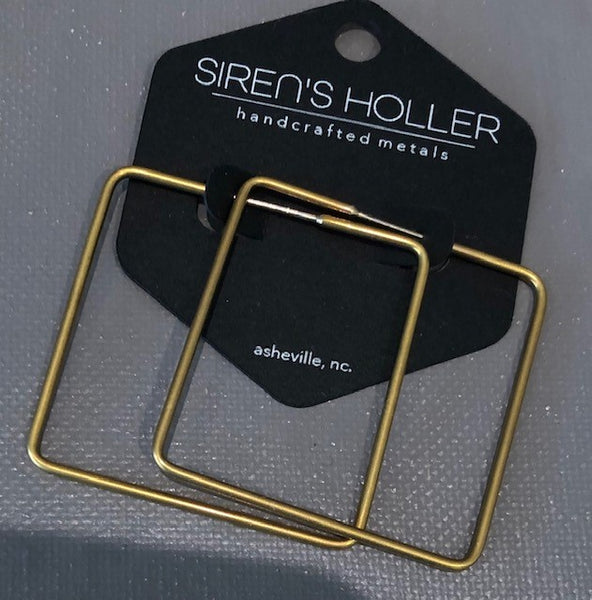 Siren's Holler Earrings- Square Hoops Medium