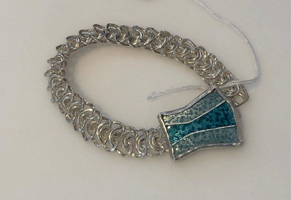 Fine Silver and Teal Enamel Bracelet by Patricia Phillips