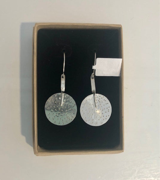 Sterling Silver Dangling Round Earrings by Patricia Phillips