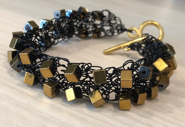 Viola Spells-Gold on Black Cube Bracelet