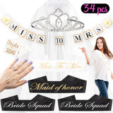 Livin' Well Bachelorette Party Kits – Bride Squad Bridal Bundle Package & Party Supplies Kit w/ Bride Sash and Tiara, Miss to Mrs Banner, Veil, Tattoos