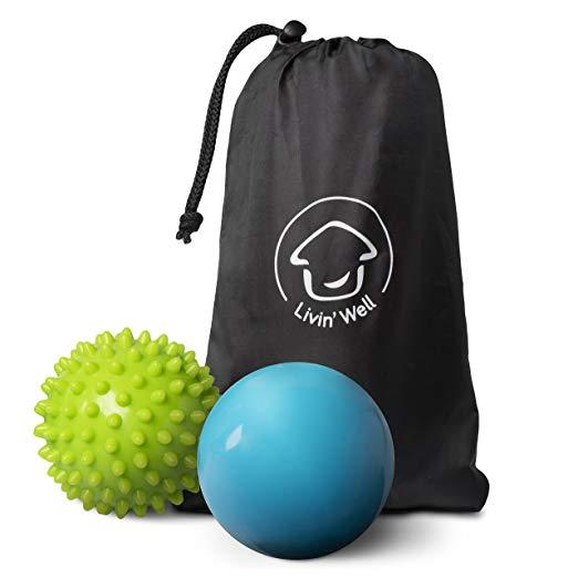 Back Massager Massage Ball Set - Shiatsu Spike Ball and Smooth Tissue Massager 2 Pack with Thermo Activated Gel and Massage Balls Travel Pouch Livin' Well