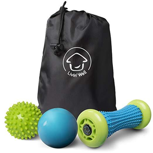 Foot Massager and Massage Ball Set - 2 Back Massager Massage Balls and Foot Massage Muscle Roller Combo Pack with Handheld Massager Carry Bag Livin' Well