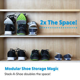 "Shoe Storage Closet Organizer Shoe Rack – ""Stack A Shoe Racks"" Double Deck Shoe Rack (Pack of 10)"