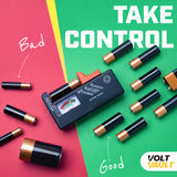 Volt Vault Battery Tester for AAA, AA, C, D, 9V and Small Batteries with Voltage Power Meter