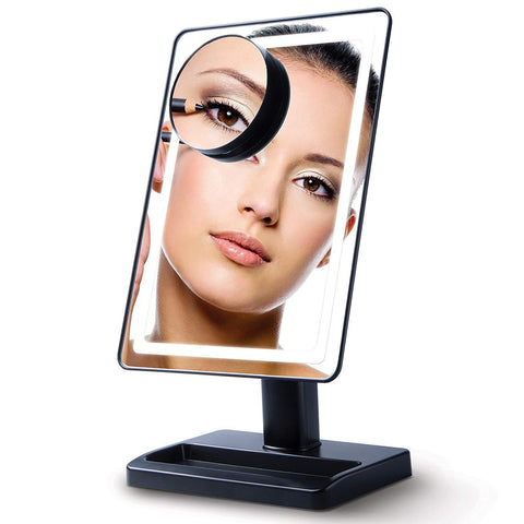 LightTouch Dimmable Make Up Mirror with Magnification 10x and LED Soft Light (Cordless) - Black