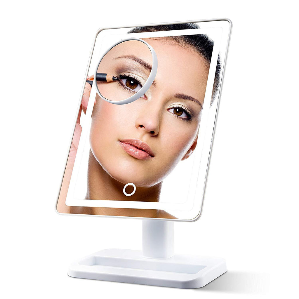LightTouch Dimmable Make Up Mirror with Magnification 10x and LED Soft Light (Cordless) - White Livin' Well