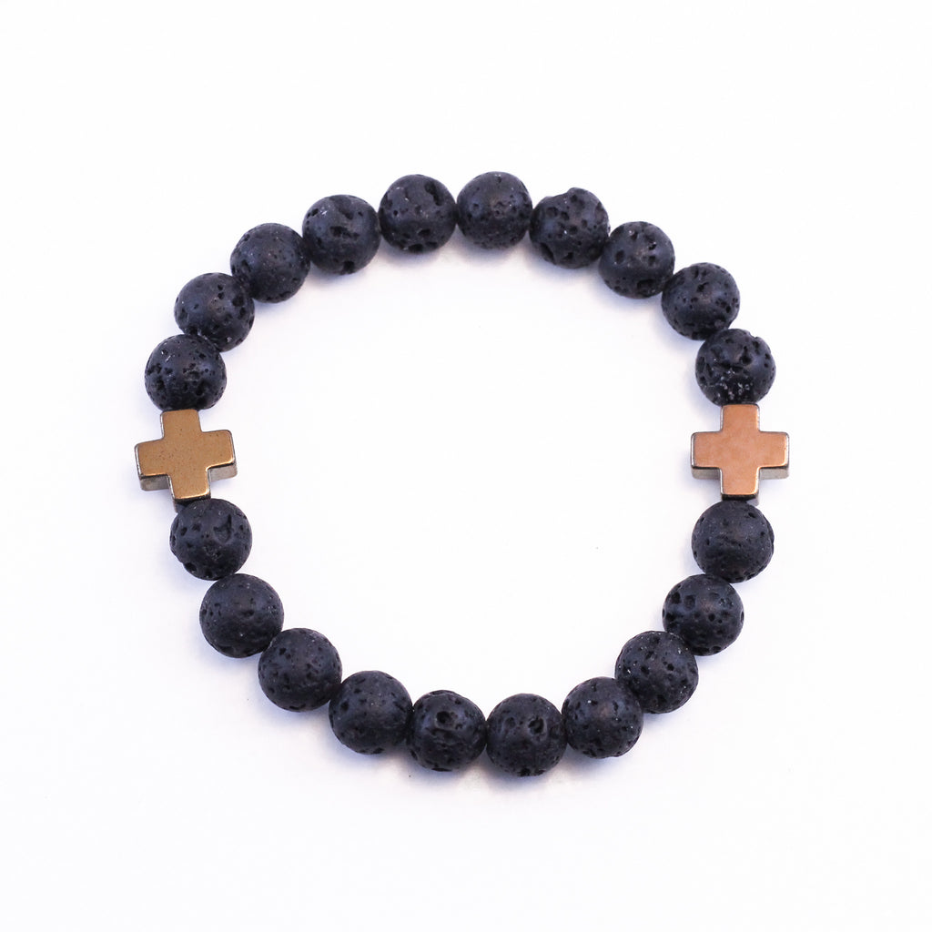 Gold Cross and Lava Diffuser Bracelet