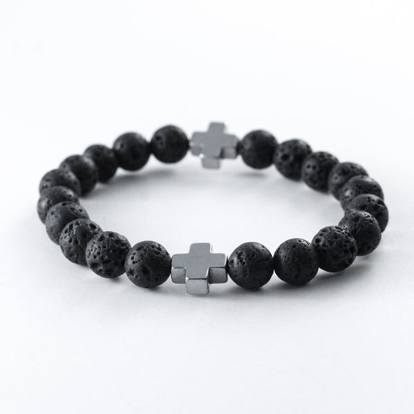 Silver Cross and Lava Diffuser Bracelet