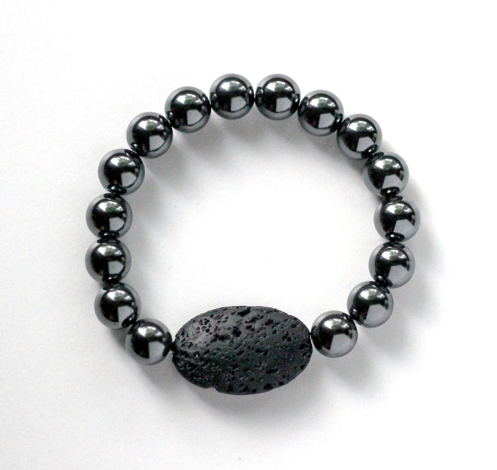 Hematite with Oval Lava Diffuser Bracelet